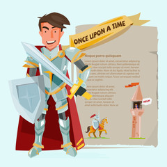smart knight character design with battle shields and swordin. p