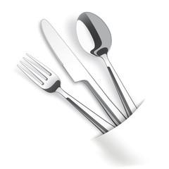 White Convert Napkin Fork Knife Spoon