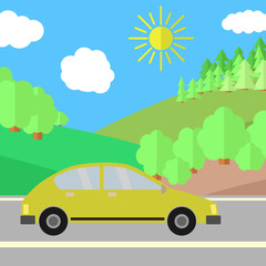 Yellow Car on a Road on a Sunny Day. Summer Travel Illustration. Car over Landscape.