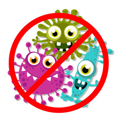 Germ, Bacteria, Virus, Microbe, Pathogen Characters. Cartoon, fun for children characters. Vector illustration