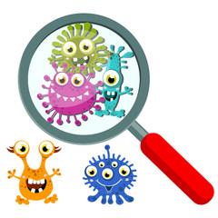 Magnifying Glass look through Germ, Bacteria, Virus, Microbe, Pathogen Characters. Cartoon, fun for children characters. Vector illustration