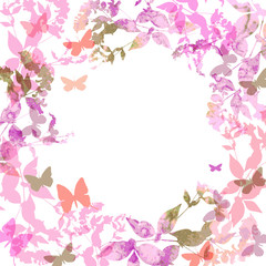 Spring background, Colorful butterflies set wreath with pink lilac leaves, watercolor. Round banner for text. spring summer card design on white background. Vector