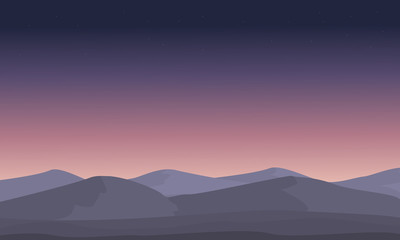 Printed roller blinds Violet Mountain at night landscape silhouettes