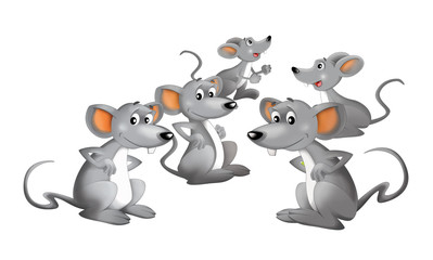 Cartoon happy group of mice - isolated - illustration for children