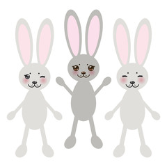 Kawaii funny rabbit on white background with pink cheeks and big black eyes. Vector