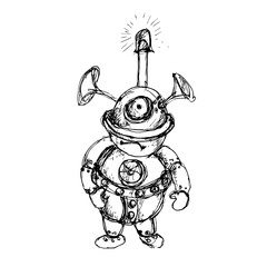 Steam punk mechanical robot black and white ink sketch