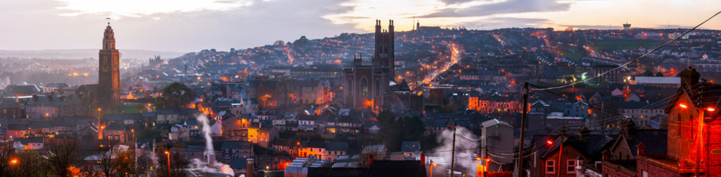 Aerial view of Cork, Ireland at sunset