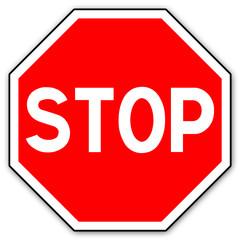 Panneau routier en France : STOP