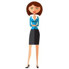 Young cartoon banker lady with crossed arms vector illustration