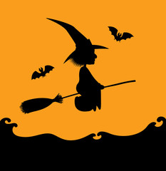 Vector Halloween illustration. Black silhouette of a witch flying on a broom over a sea. Orange background. Square format.