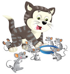 Cartoon happy cat standing smiling and thinking around the mice - milk in the bowl - isolated - illustration for children