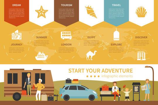 Start Your Adventure infographic flat vector illustration. Presentation Concept