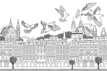 Prague, Czech Republic - hand drawn black and white cityscape with birds