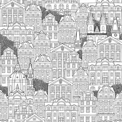 Prague, Czech Republic - hand drawn seamless pattern of Czech houses and cathedrals
