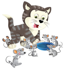 Cartoon happy cat standing smiling and thinking around the mice - bowl for milk - isolated - illustration for children