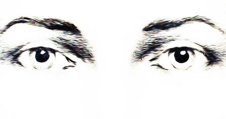 harmonic peaceful spiritual eyes, graphic collage on white background.