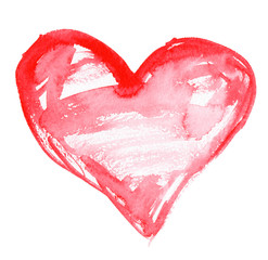 Big roughly painted bright red watercolor heart on clean white background