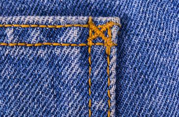 Blue jeans texture fragment closeup