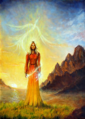 An enchanting mystical priestess with a sword of light and phoenix bird, graphic effect.