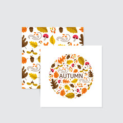 Vector greeting cards. Autumn elements made in circle with monoline lettering. Seamless pattern with mushroom, acorn, oak, maple leaves.