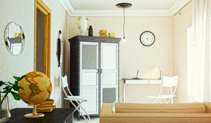 The concept of working room. 3d illustration