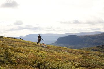 Sportsmen in a mountain scenery, Sweden.
