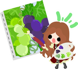 A cute illustration of a little girl and the picture of the grapes