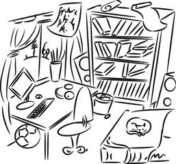 Sketch of teenager's bedroom