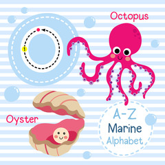 O letter tracing. Octopus. Oyster. Cute children sea marine alphabet flash card. Funny cartoon animal. Kids abc education. Learning English vocabulary. Vector illustration.