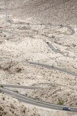 High angle view of cars moving on Highway 74, Palm Desert, California, USA