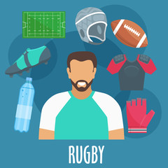 Rugby sport equipment and outfit elements