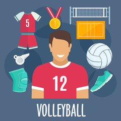 Volleyball sport equipment and outfit