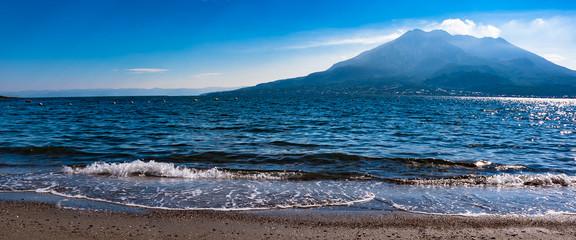 桜島と錦江湾の朝