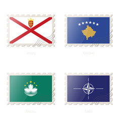 Postage stamp with the image of Jersey, Kosovo, Macau, Nato flag