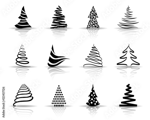 weihnachtsbaum iconset schwarz schatten stockfotos. Black Bedroom Furniture Sets. Home Design Ideas