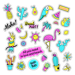 Pop art set with fashion patch badges and different tropical elements. Stickers,pins,patches,quirky,handwritten notes collection. 80s-90s style. Trend. Vector illustration isolated.Vector clip art.
