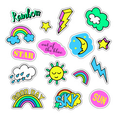 Autocollant pour porte Cartoon draw Pop art set with fashion patch badges and different sky elements. Stickers, pins, patches, quirky, handwritten notes collection. 80s-90s style. Trend. Vector illustration isolated. Vector clip art.