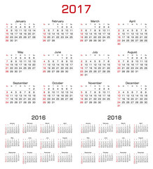 Simple Calendar 2017, 2016, 2018. Week starts from Sunday.
