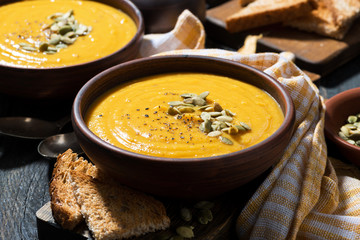 Delicious pumpkin soup in a bowl