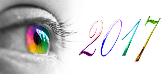 2017 and colorful rainbow eye header, 2017 new year greetings concept Fotomurales