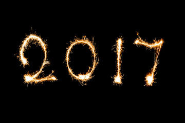 2017 written with Sparkle firework, New year 2017 concept.
