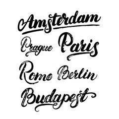 Collection of european capitals Amsterdam, Berlin, Paris, Rome, Prague, Budapest.