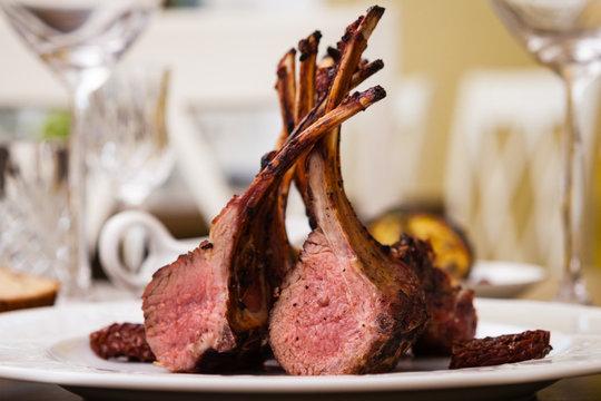 Lamb rack on a plate