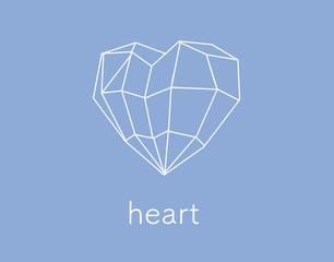 Vector polygonal illustration of heart, modern heart icon