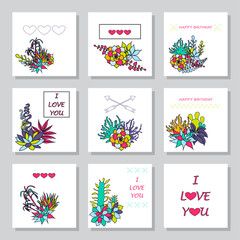 set of vector gift tags and tag cards with succulents,