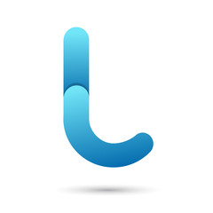 Letter l with blue color on white background