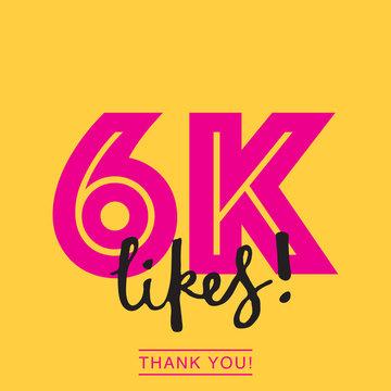 6000 likes social media thank you banner