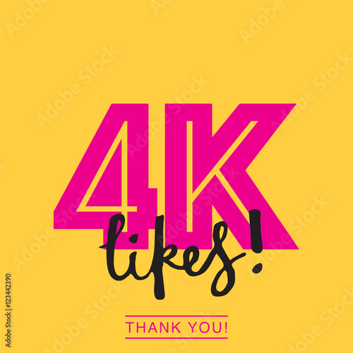 4000 likes social media thank you banner stock image and royalty
