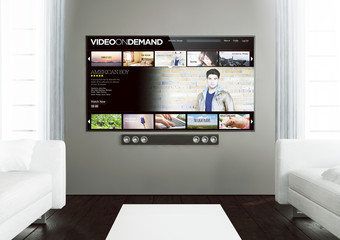 wooden living room with video on demand