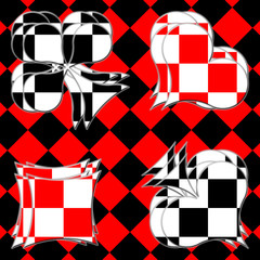 Card suits on the checkered background